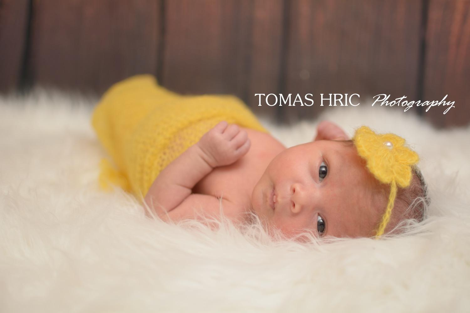 Tomas Hric Photography Northern Virginia Newborn photographer baby girl wrapped in a yellow wrap looking at the camera