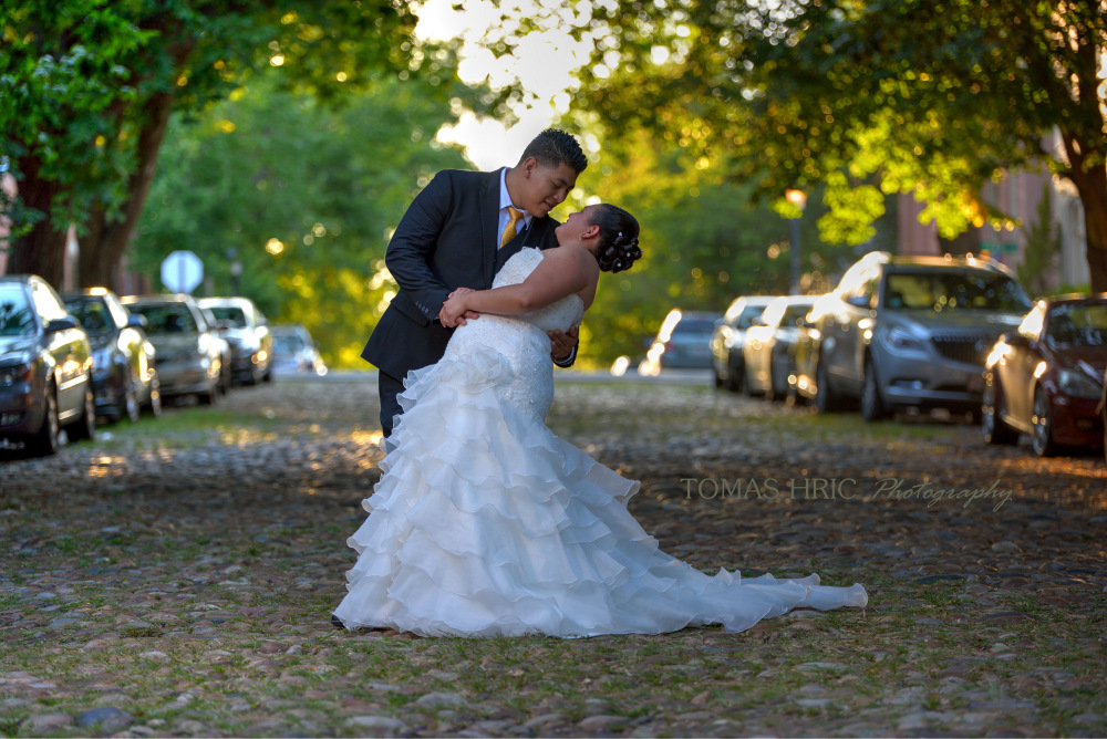 Beautiful picture of wedding couple under trees Wedding in old town alexandria northern virginia Dc maryland by tomas hric photography