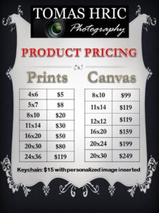 Products Pricing for Tomas Hric Photography in Pittsburgh, PA, monongahela Greensburg Uniontown washington DC maryland ohio best and affordable photographer